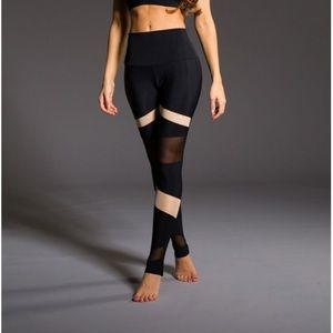 Onzie black high waisted leggings with nude mesh